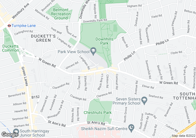 Map for West Green Road, Tottenham, London