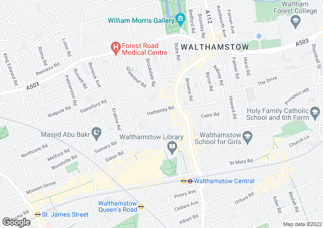 Map for HATHERLEY ROAD, WALTHAMSTOW