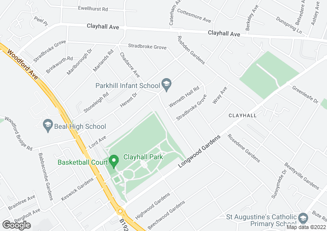 Map for Clayhall, Ilford, Essex
