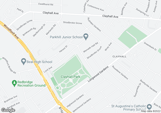 Map for ABBOTSWOOD GARDENS CLAYHALL IG5