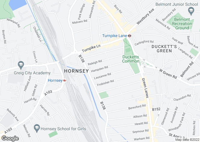 Map for Hampden Road, London, N8