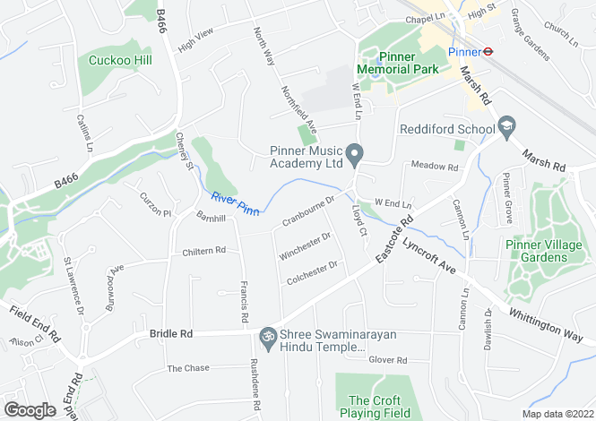 Map for Cranbourne Drive, Pinner, Middlesex, HA5