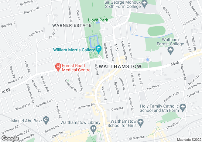 Map for Gaywood Road, Walthamstow, London
