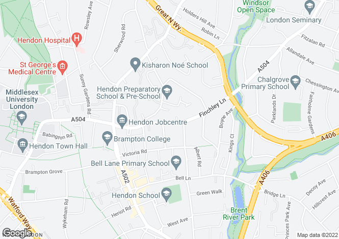 Map for Finchley Lane, Hendon, NW4