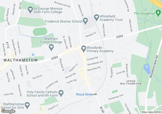 Map for Wood Street, Walthamstow, London