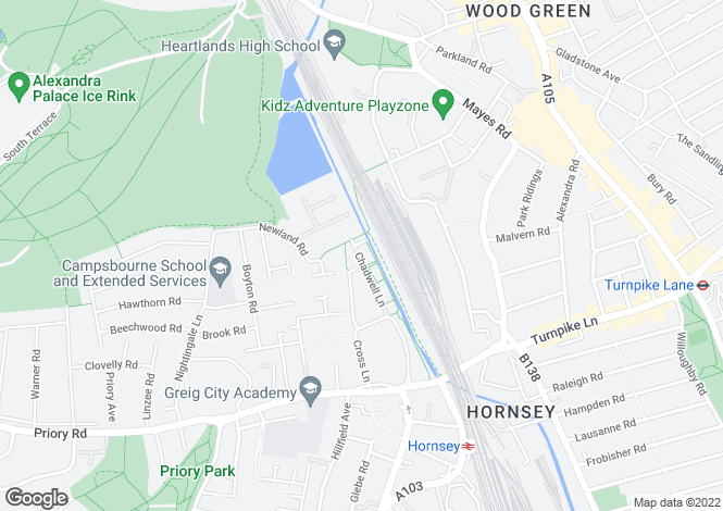 Map for Chadwell Lane, Crouch End, N8
