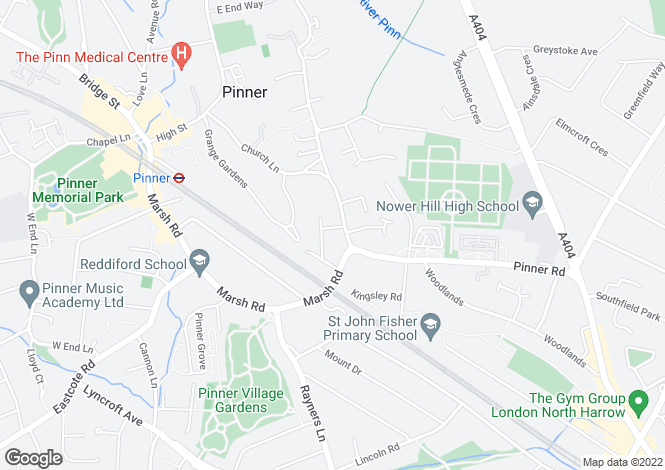 Map for Nower Hill, Pinner, Middlesex, HA5 5RQ