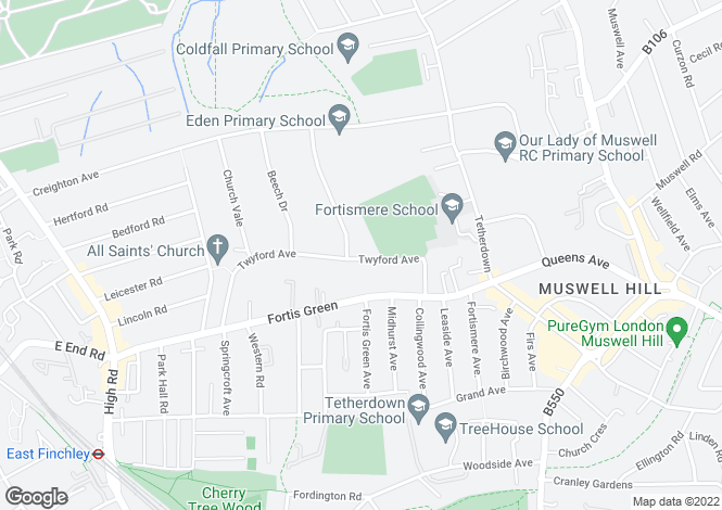 Map for Twyford Avenue, Muswell Hill, London
