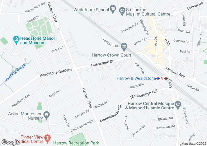 Map for Walton Road, Harrow, Middlesex, HA1