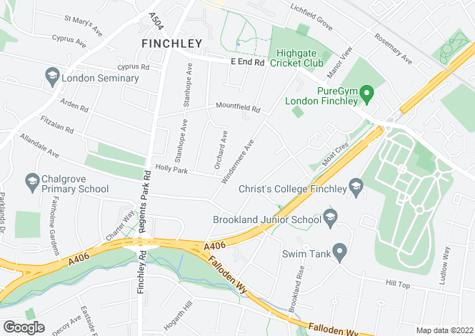 Map for Windermere Avenue, Finchley