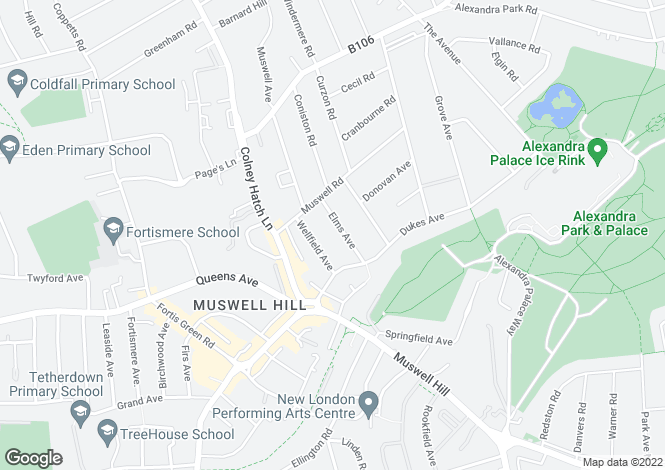 Map for Elms Avenue, Muswell Hill, N10