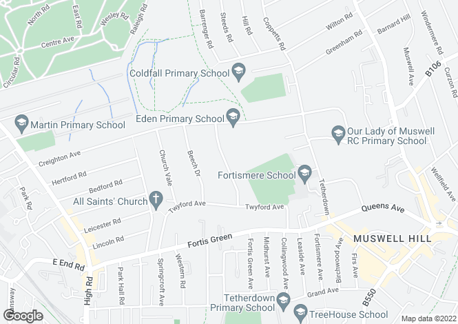 Map for Ringwood Avenue, East Finchley, London