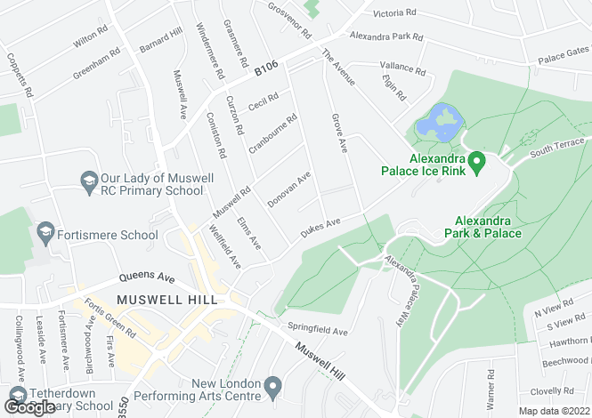 Map for Palace Court Gardens, Muswell Hill, London, N10