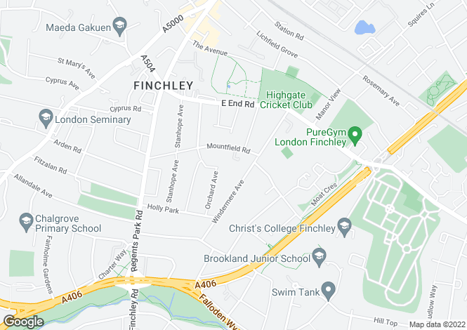 Map for Howes Close,  Mountfield Road., Finchley N3