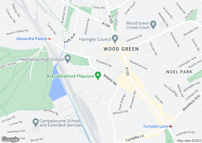 Map for Mayes Road, Wood Green, London, N22