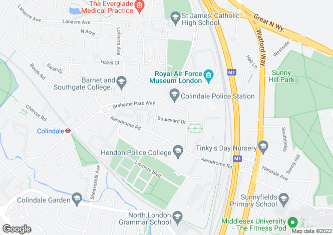 Map for Amelia House, 11 Boulevard Drive, COLINDALE, NW9 5JQ