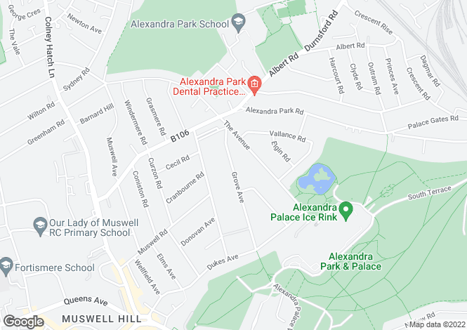 Map for Grove Avenue, Muswell Hill, London