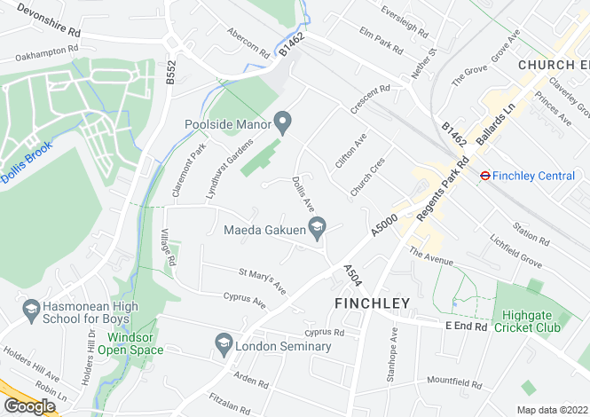 Map for Dollis Avenue, Finchley