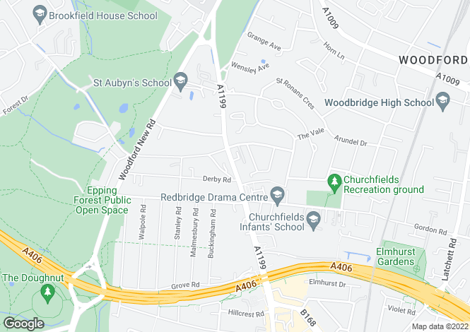 Map for High Road, Woodford Green