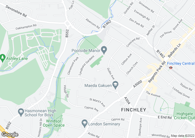 Map for Grass Park, Church End, Finchley