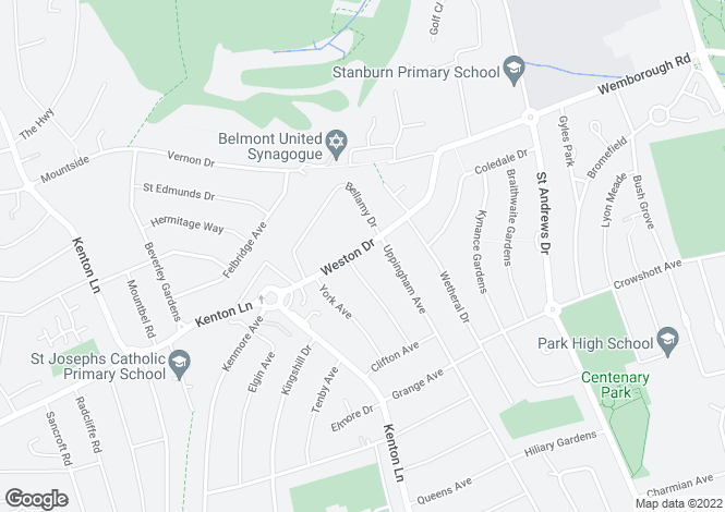 Map for Weston Drive Stanmore