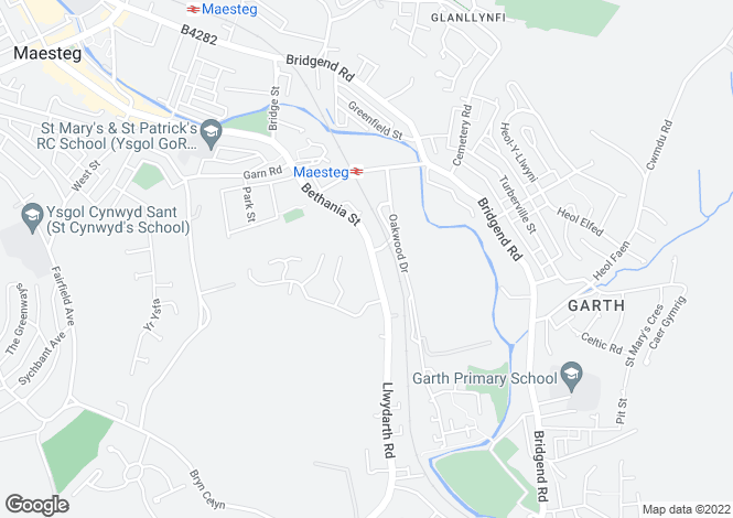 Map for Bethania Street, Maesteg