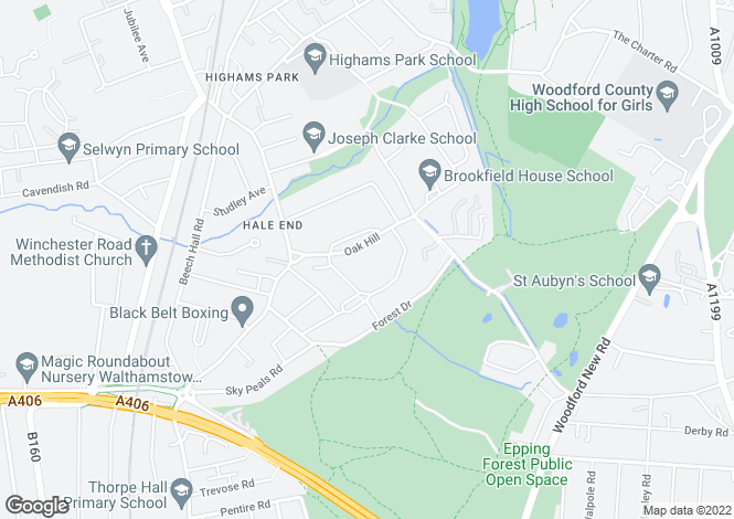 Map for 81 Oak Hill, Woodford Green