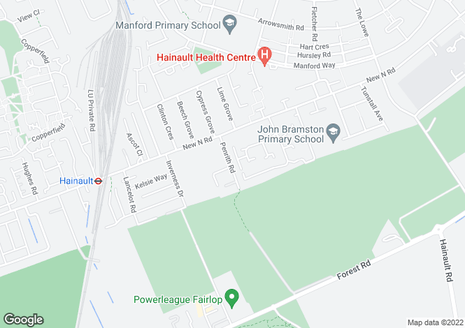 Map for Penrith Road, Hainault