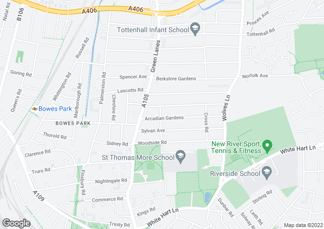 Map for Glendale Avenue, Wood Green, N22
