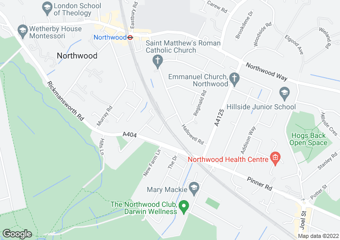 Map for 1 Highfield Road, Northwood, Middlesex HA6 1ES