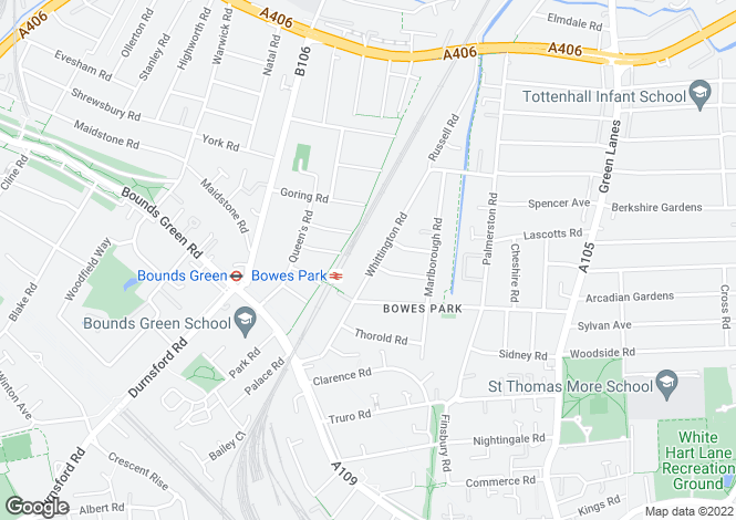 Map for Whittington Road, Bounds Green, N22