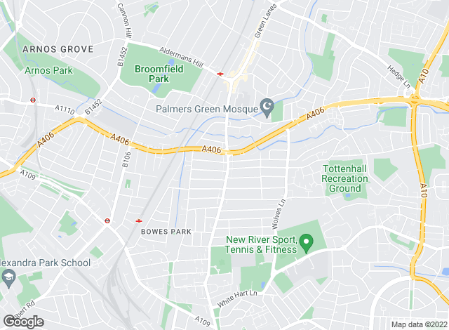 Map for Brien Firmin, Palmers Green