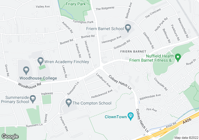 Map for Woodhouse Road, Friern Barnet, N12