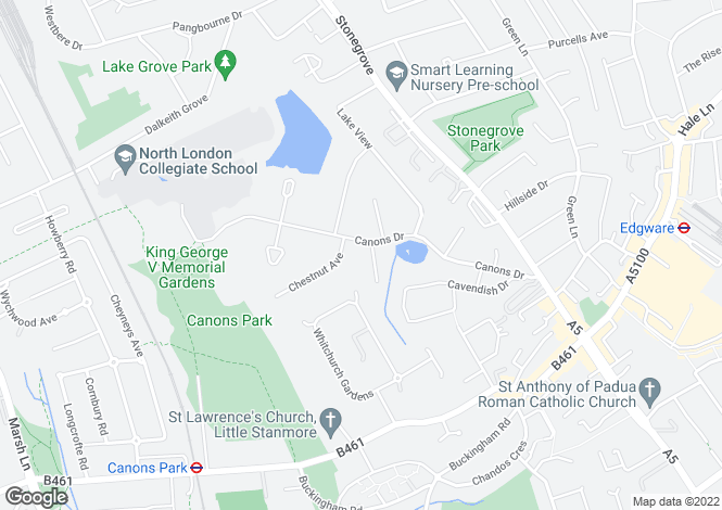 Map for Canons Drive Edgware, Middlesex