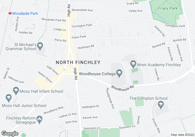 Map for Finchley, N12