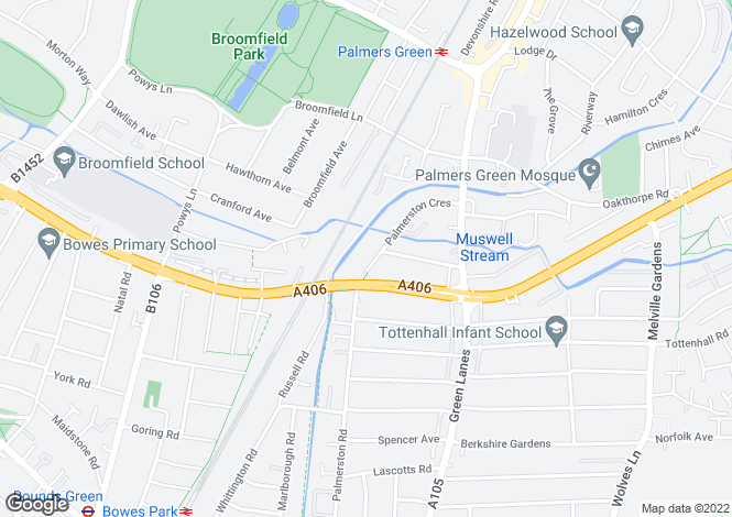Map for Palmerston Crescent, Palmers Green