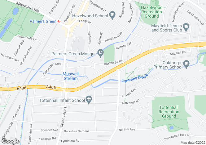 Map for North Circular Road, Palmers Green