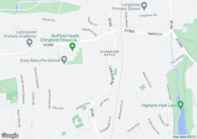Map for Larkshall Crescent, Chingford