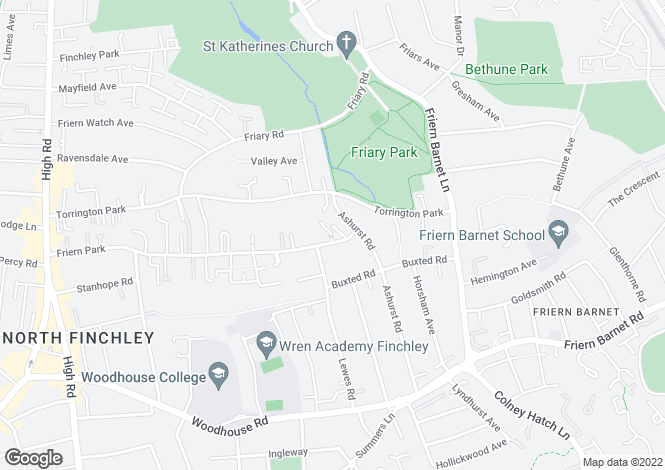 Map for FERNHALL, FRIERN PARK, NORTH FINCHLEY, LONDON, N12