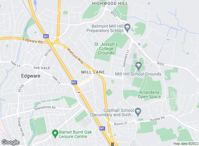 Map for ACR Lettings, Mill Hill