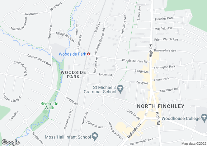 Map for Holden Road, Woodside Park, London N12