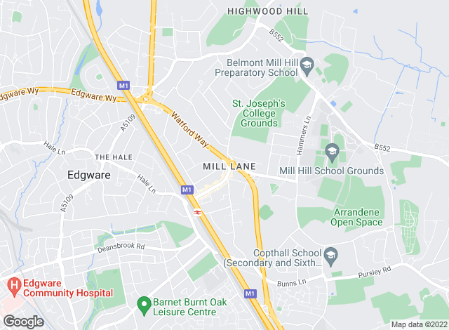 Map for Cosway Estates, Mill Hill