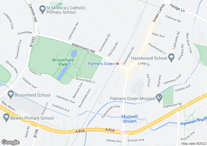 Map for Broomfield Avenue Palmers Green N13