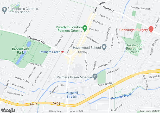Map for Lodge Drive, Palmers Green, London, N13