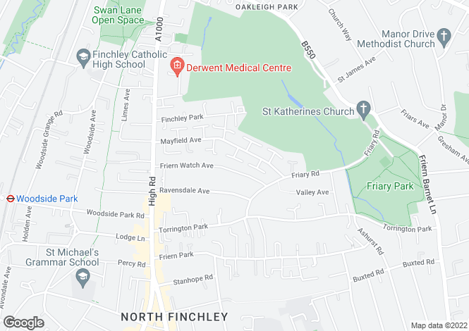 Map for Friern Watch Avenue, Woodside Park, N12.