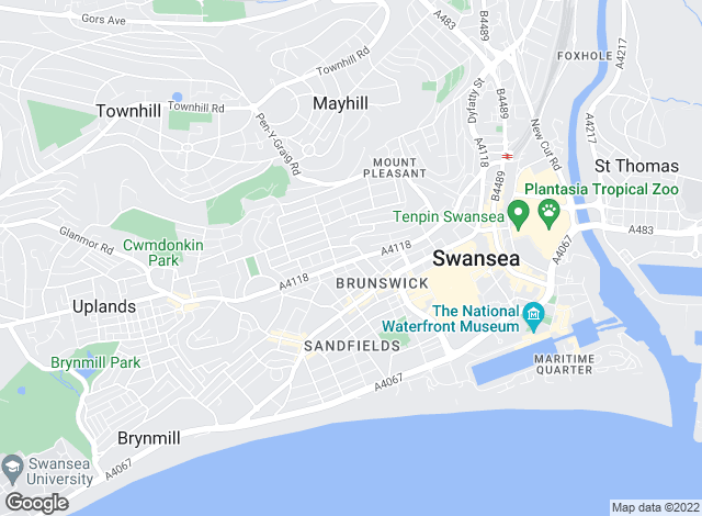 Map for Threshold Property Management, Swansea