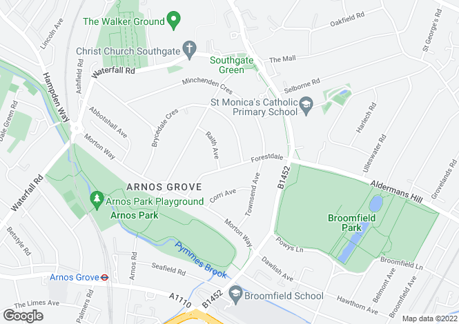Map for Southgate, London, N14