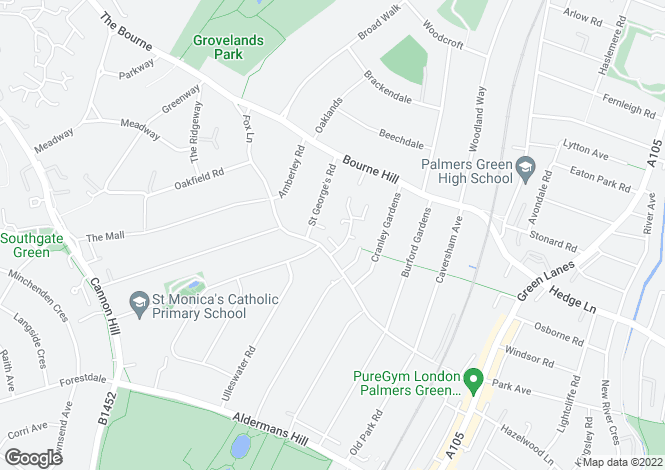 Map for Everard Court, Palmers Green, London