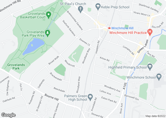 Map for Woodland Way, Winchmore Hill N21