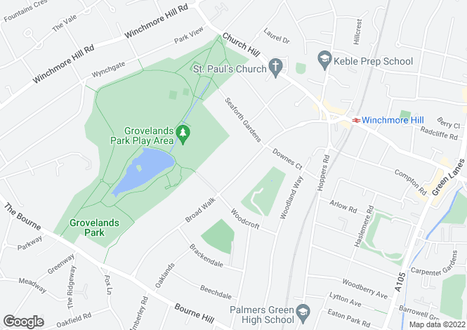 Map for Broad Walk, Winchmore Hill